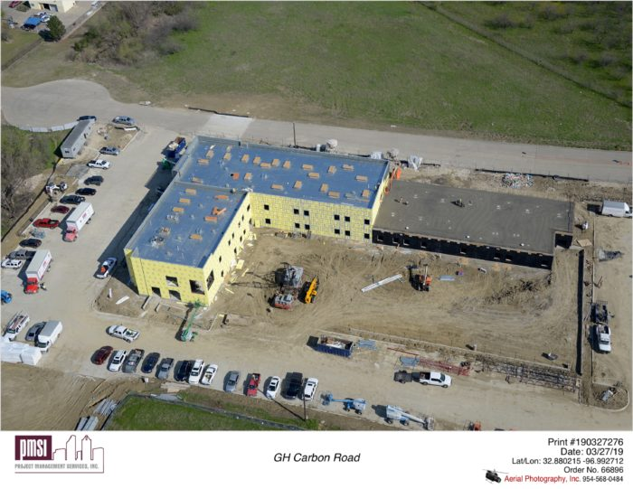 aerial construction view, great hearts irving