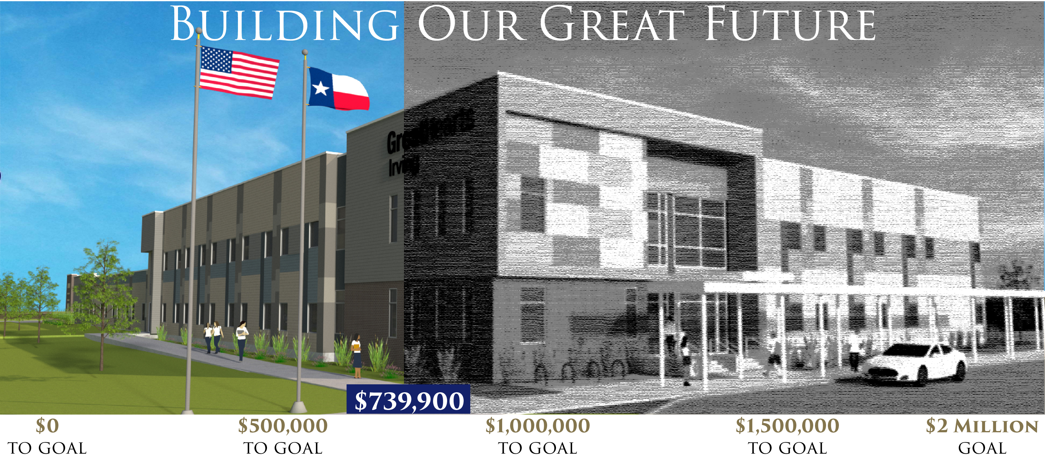 color and black and white rendering - $739,900 raised